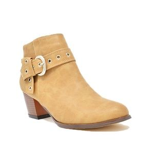 Chase + Chloe Shoes - Women's Block Heel Side Buckle Taupe  Ankle Bootie